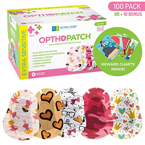 Kids Eye Patches - Fun Girls Design - 90 + 10 Bonus Latex Free Hypoallergenic Cotton Adhesive Bandages For Amblyopia and Cross Eye - 3 Reward Chart Posters - Optho-Patch by Defined Vision ()