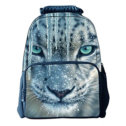 Unisex School Bags Animal Print 3d Felt Fabric Hiking Backpacks Gray Leopard