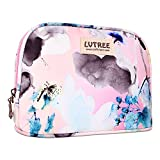 Lvtree Cosmetic Bag Makeup Case Toiletry Bag, Portable Small Handy Waterproof Travel Hanging Organizer Case Pencil Pen Multifunction Purse for Women Girls Countryside Flower Floral, Wash Painting