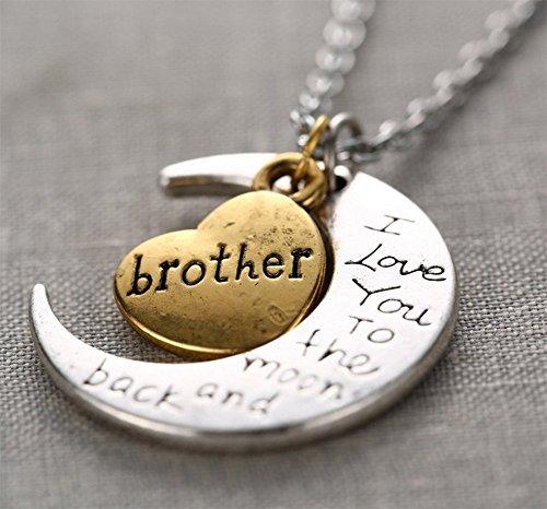 DaoRier 1pc Colgante collar de mujer Cadena Clain Neklace Silver Brother