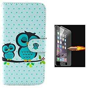 ZL The Size of The Owl Design PU Leather Full Body Case with Explosion-Proof Glass Film for iPhone 6 Plus