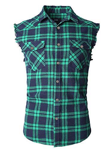 - NUTEXROL Men's Casual Flannel Plaid Shirt Sleeveless Cotton Plus Size Vest Navy&Green XS
