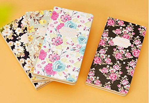4 pieces / lot. Creative hard cover flowers print paper notebook kawaii stationery kids memo diary school supplies material escolar ac0133