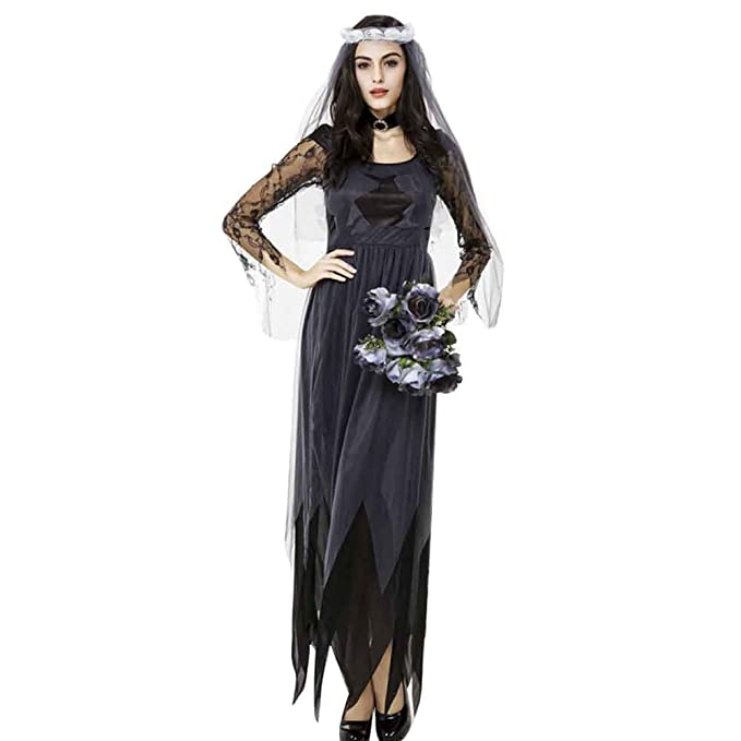 1940s Costumes Halloween Lace Tulle Ghost Bride Adult Costume Party Night Club Dress $17.88 AT vintagedancer.com