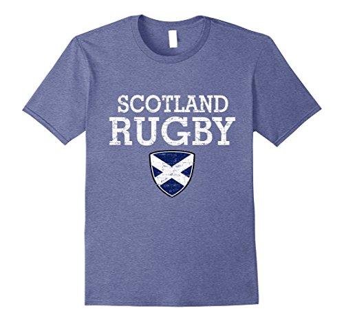 Mens Scottish Flag Rugby T-shirt Large Heather Blue