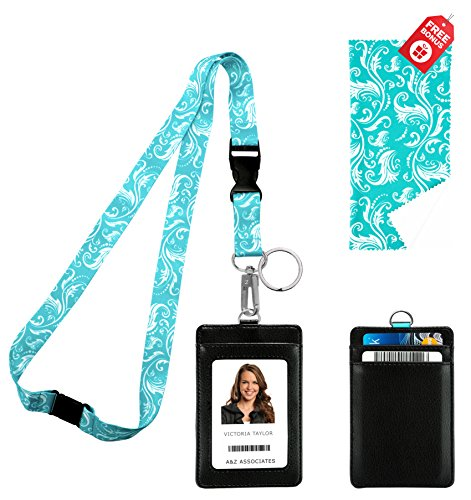 Tiffany Blue Swirls Print Lanyard with PU Leather ID Badge Holder with 3 Card Pockets. Safety Breakaway Clip, key ring, Mini Note Card & Large Ultra Fine Microfiber Cleaning - Key Tiffany Sunglasses