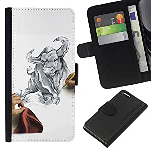 // PHONE CASE GIFT // Moda Estuche Funda de Cuero Billetera Tarjeta de crédito dinero bolsa Cubierta de proteccion Caso Apple Iphone 5C / Draw Sketch Bull Taurus Fierce Fight Matador /