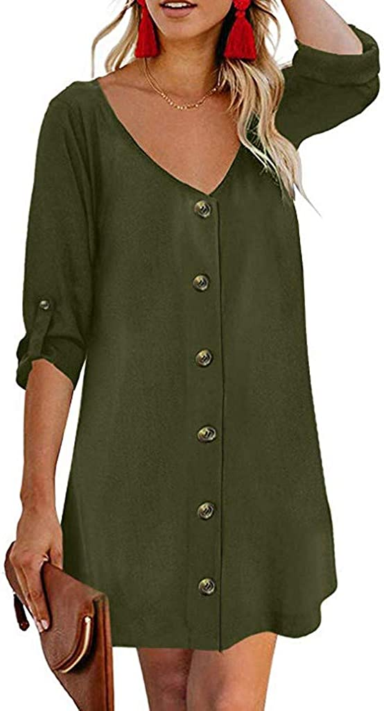 S, Army Green Flowy Button Down Tunic Dress,JKioleg 3//4 Sleeve V Neck Mini Casual Solid Plain Dresses Blouse for Beach
