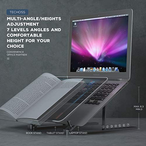 Techoss Laptop Stand, Adjustable Multi-Angle Foldable Laptop Stand Portable Tablet Holder for Desk Lightweight Space-Save Ergonomic Tray Mount Compatible with iMac, Laptop, Notebook Computer,Tablet