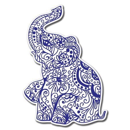 Elephant Henna Exotic Vinyl Sticker - Car Phone Helmet - SELECT (Exotic Vinyl)