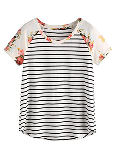 Romwe Women's Floral Print Short Sleeve Tops Striped Casual Blouses T Shirt White L