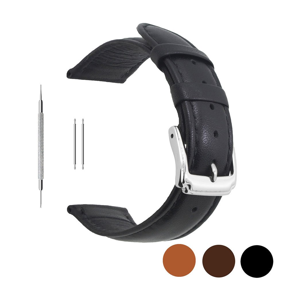 Berfine 18mm Black Calf Leather Watch Band Replacement,Extra Soft Watch Strap for Men Women