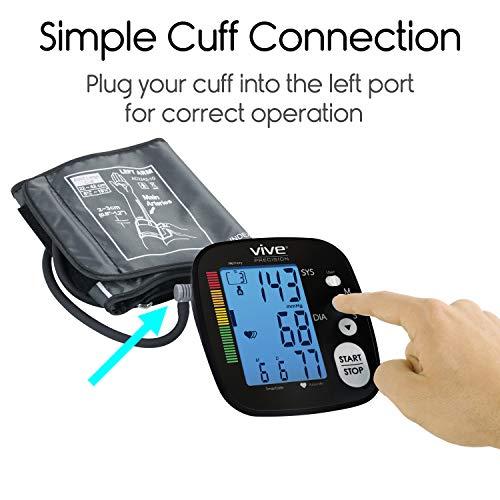 Vive Pressure Machine - Heart Monitor Sphygmomanometer Heartbeat Measurements Hypertension Diagnosis, Accurate Readings - With Upper Arm Cuff