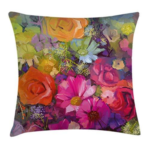 Ambesonne Floral Throw Pillow Cushion Cover, Vibrant Flower Bouquet with Daisy Peony Gerbera Petals Romantic Arrangement Print, Decorative Square Accent Pillow Case, 16