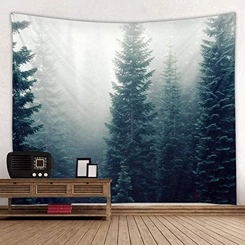 King Size Tapestry Forest, Misty Winter Pine Trees Woodland Scene Tapestry Natural for Country Bedroom Living Room Wall Hanging Fabric Dark Green