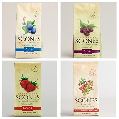 (Sticky Fingers Scone Mix Variety Pack of 4 (Wild Blueberry, Raspberry, Strawberry, and Vanilla Chai) 15 Oz. Each)