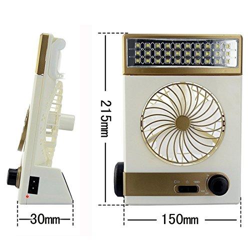 KASQA Solar Table Lamp Mini Fan 3 in 1 Multi-function Portable Eye-Care Desk Light Flashlight Solar Light For Adult Children Home Camping Solar Cooling Fans(Gold) by SUAYAN (Image #3)