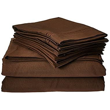 Anili Mili's Triple Stitch Embroidery Affordable 4 PC Bed Sheet Set - Queen Size, Chocolate Brown