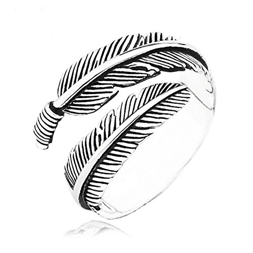 (JczR.Y Vintage Open Adjustable Feather Arrow Opening Rings for Women Thai Silver Plated Jewelry)