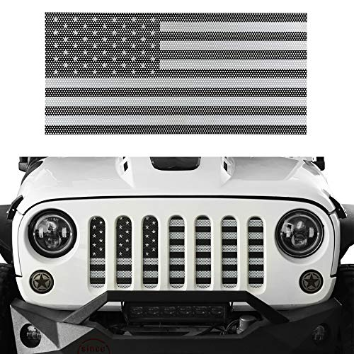 Hooke Road Jeep Grill Insert American Flag Grille Screen for 2007-2018 Jeep Wrangler JK & Wrangler Unlimited (Black&White Old Glory)