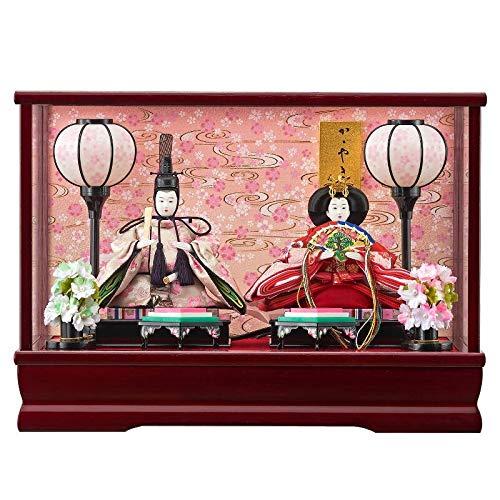 雛人形 親王ガラスケース 【みゆき】 豆 2人飾り 艶ワイン [間口42cm] 【fn-41】 ひな祭り   B07JLWXVRW