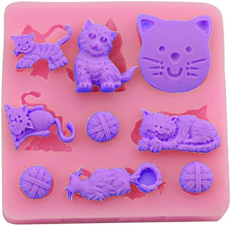 Sr. S tienda DIY gato jugando pelota molde de silicona para ...