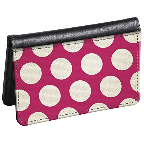 Snaptotes Slim Leather Accent Pink Polka Dot ID Card Wallet