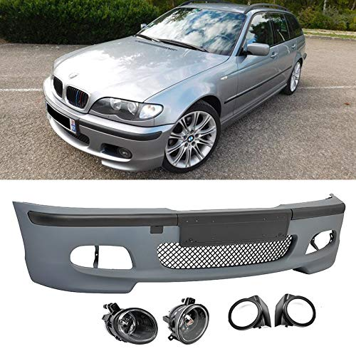 Front Bumper Kit for 99-05 3-Series E46 Clear Fog Lights Bezels M-Tech 2 Style