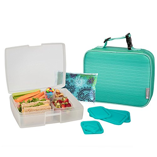 Bentology Lunch Bag and Box Set for Girls - Includes Insulated Sleeve with Handle, Bento Box, 5 Containers and Ice Pack - Turquoise