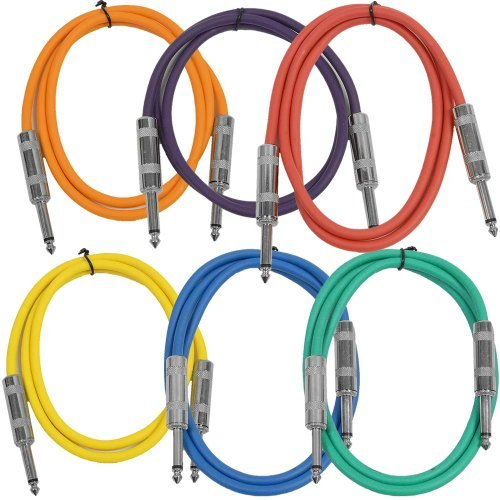 Seismic Audio SASTSX-3BGORYP 3-Feet TS 1/4-Inch Guitar, Instrument, or Patch Cable, Colored