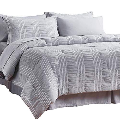 Bedsure Twin Comforter Set 6 Piece Bed in A Bag Stripes Seersucker Ultra-Soft Lightweight Down Alternative Grey Bedding Set 68x88 inch