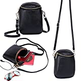 Zg Girls Women 100% Real Leather Small Cute Crossbody Cell Phone Purse Wallet Bag with Shoulder Strap Fits for IPhone 6 6S 7 Plus and Samsung Galaxy S7 Edge S8 Edge - Black