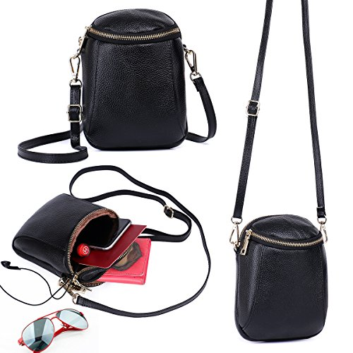 8 6 Galaxy Black for Layer 6S Purse 7 Samsung IPhone Purse Women S8 2 S7 Edge Cell Fits Phone Leather Crossbody Zg and Crossbody Small Plus for Real HqpE7Z