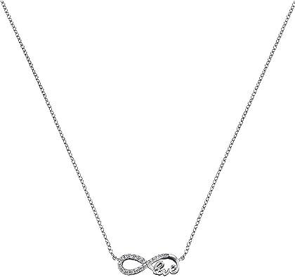 Engelsrufer Infinity Kette mit Anhänger für Damen 925er Sterlingsilber besetzt mit 20 weißen Zirkonia Länge 40 cm plus 4 cm