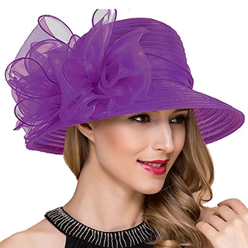 Lady Church Derby Dress Cloche Hat Fascinator Floral Tea Party Wedding Bucket Hat S051 (Purple) ()