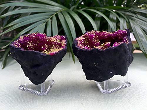 strakeshop Pink Geode Pair Open Split Crystal Specimen Morocco Geode Reiki Chakra Wicca. ()