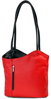ital. Leder Handtasche apfel grün, auch auf dem Rücken tragbar - 28x28x8 cm (B x H x T) Belli