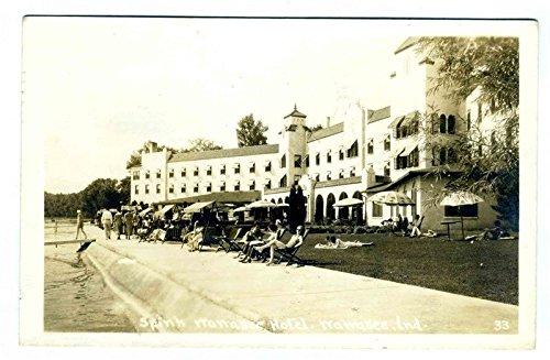 Spink Wawasee Hotel Real Photo Postcard Wawasee Indiana 1939