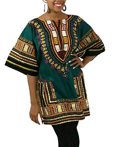 V Pattern2 Collo Tee Modo Abito Stampa Della Di Pullover Coolred donne Top Dashiki wqY7HH