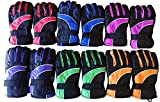 Yacht & Smith 12 Pairs Value Pack of Kids Thermal Sport Winter Warm Ski Gloves (Assorted)