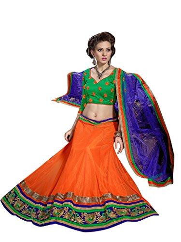 Vibes Women's Net Un-Stitched Party Wear Lehenga Choli Free Size Orange