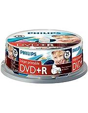 Philips DVD+R Rohlinge (4,7 GB Data/120 minuten video, 16 x High Speed Opname, 25 spindel, inkjet printable)