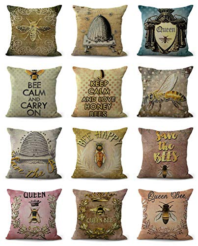 10pcs Cushion Covers Bees Bumble bee hive Wholesale Pillow Covers ()