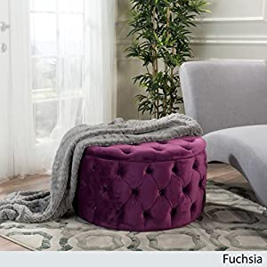 Great Deal Furniture Provence Tufted New Velvet Ottoman