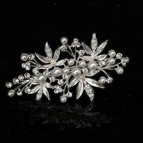 - Wedding Bridal Silver Diamante Flower Pearl Hair Pins Clips Clamp Barrette