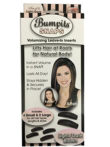 Bumpits Snaps Hair Volumizing Leave-in Inserts, Dark Brown/black Lifts Hair at Roots for Natural Volume