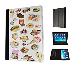 920 - Collage food ice cream macaroon suchi cupcake doughnut Design Apple ipad Air 1 - 2013 Fashion Trend TPU Leather Flip Case Protective Purse Pouch Book Style Defender Stand Cover