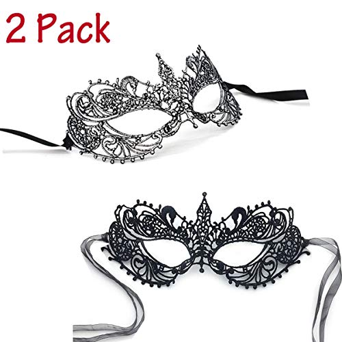 iMapo Women's Lace Masquerade Masks, Sexy Lady Girl Elegant Eye Mask Opera Halloween Dancing Evening Party Mardi Gras, Pack of 2 - Black & -