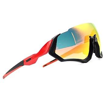 2018 Kit de Gafas de Sol Ciclismo 3LS Revo + polarizado + Transparente (Marco Negro + Pierna roja): Amazon.es: Deportes y aire libre