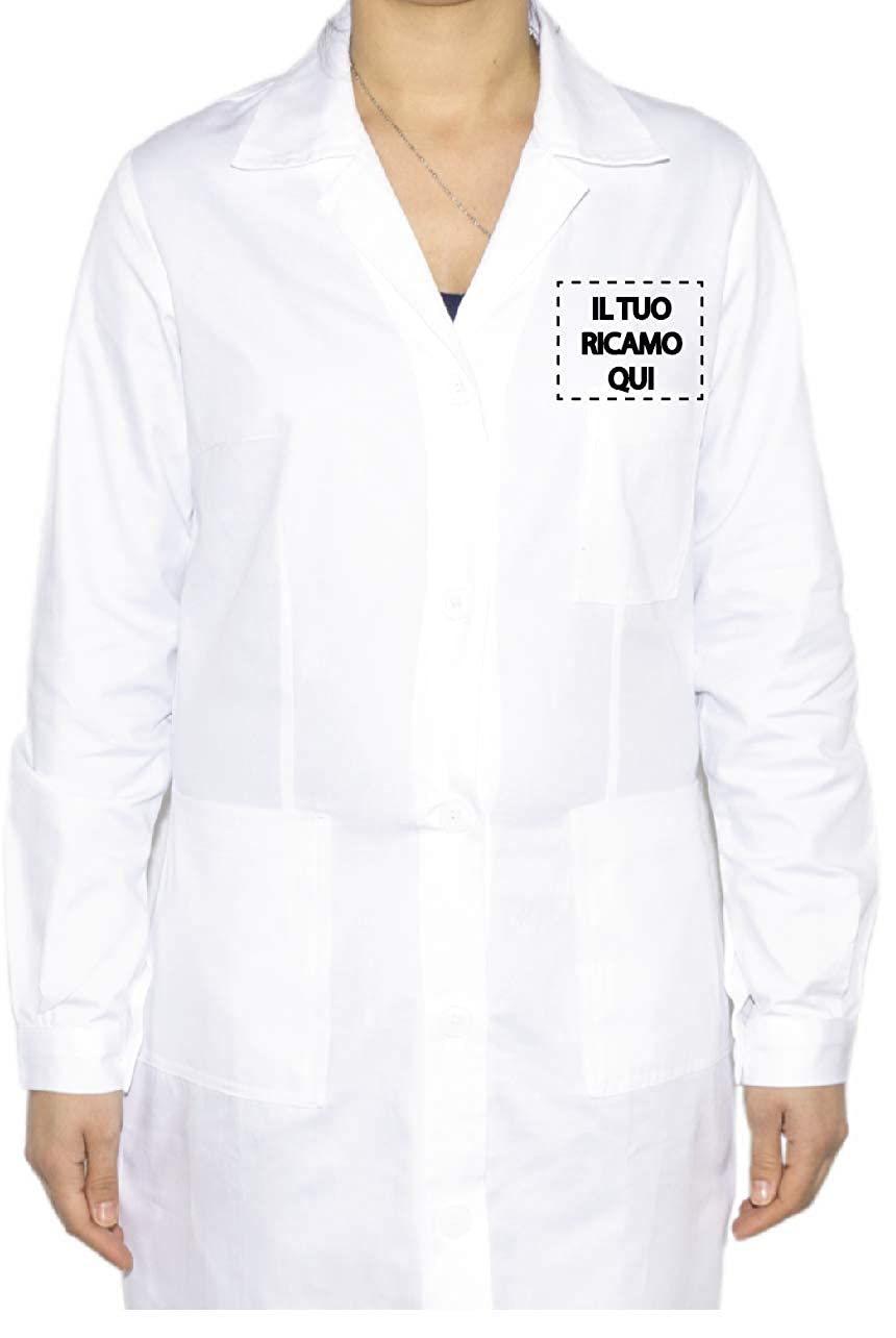 Camice Donna Ricamato con Nome Personalizzabile Online Isacco Bianco Dottore Infermiere